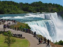 NIAGARA FALLS, NY : The American side of the Falls. Has a large park where visitors can get up close to the edge of the falls stock photo