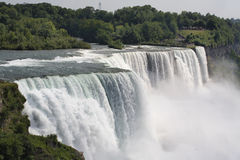 Niagara falls, NY, USA. Its one of the most popular tourist place in NY. Close up picture, many people visible on the sightseeing view platform Stock Photos