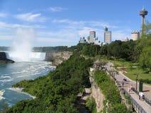 Niagara Falls och horisont från den kanadensiska sidan Arkivbild