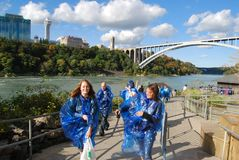 Maid of the Mist Tour Riders at Niagara Falls Royalty Free Stock Image