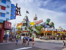 Attractions of Niagara Falls Ontario. Niagara Falls; Ontario; Canada; July 29, 2018. Ripley`s Moving Theater and House of Frankenstein next to a Burger King in royalty free stock photos