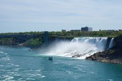 NIAGARA FALLS, ONTARIO, CANADA - MAY 20th 2018: View of the American Falls is the second-largest of the three waterfalls royalty free stock image