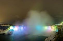Niagara Falls på nattpanorama royaltyfri fotografi