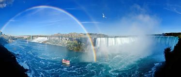 Niagara Falls. Panoram with rainbow, Canadian Falls stock photography