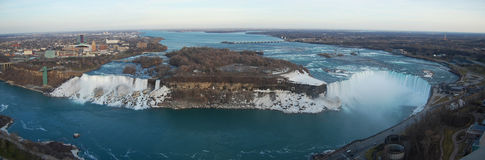 Niagara Falls panorama. Aerial view of Niagara Falls panorama, viewed from Skylon Tower in Canada in early spring Royalty Free Stock Image