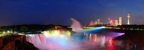 Niagara Falls panorama. Niagara Falls lit at night panorama by colorful lights royalty free stock images