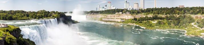 Niagara Falls panorama - New York Arkivbild