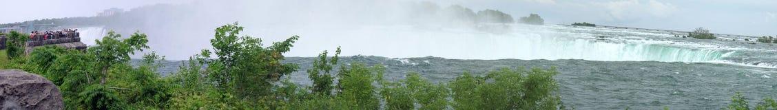 Niagara Falls panorama. Very wide composite panorama of Niagara Falls stock image