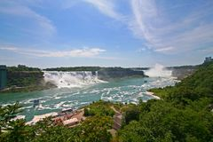 Niagara Falls panoramic. With view of American and Canadian Falls Royalty Free Stock Image