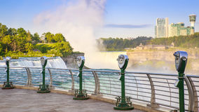 Niagara Falls. Panoramic view of the Niagara Falls in the USA overlooking Canada on a sunny summer day stock image