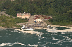 Niagara falls, people going on the maid of the mis royalty free stock images