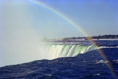 Niagara Falls Rainbow Ontario Canada. Rainbow forms in the spray from Horshoe Falls, Niagara Falls, Ontario, Canada royalty free stock photos