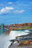 Niagara Falls and Rainbow Bridge across Niagara River Royalty Free Stock Photos