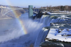 Niagara Falls and Rainbow Bridge in winter, New York, USA Stock Image