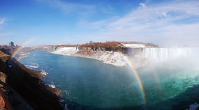 Niagara Falls and rainbow panorama Stock Image