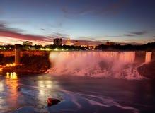 Niagara Falls S.U.A. appena prima alba Fotografia Stock Libera da Diritti