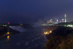 Niagara Falls and Skyline (5162). Niagara Falls and Skyline at night. (5162 royalty free stock photos