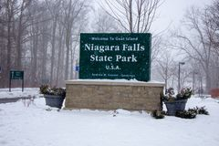 Niagara falls state park sign in winter royalty free stock image
