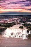 Niagara Falls Sunset. New York Niagara Falls taken from the Canadian side with a dramatic sunset sky Royalty Free Stock Images