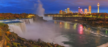 Niagara Falls. Are three waterfalls that straddle the international border between Canada and the United States royalty free stock photography