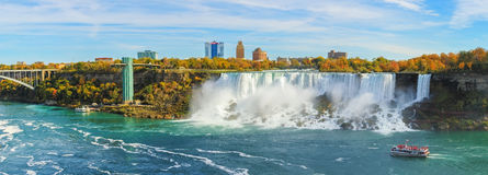 Niagara Falls. Are three waterfalls that straddle the international border between Canada and the United States stock photo