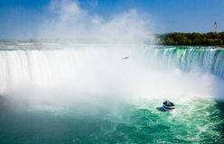 Niagara Falls with tourist boat royalty free stock photo