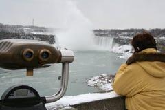 Niagara Falls - Tourist Gazing. Niagara Falls - Canadian Falls Royalty Free Stock Image
