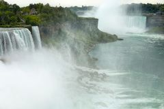 Niagara falls between United States of America and Canada from N. Ew York State, USA stock photo