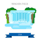 Niagara Falls in United States / Canada. Flat cart. Oon style historic sight showplace attraction web site vector illustration. World countries vacation travel Stock Illustration