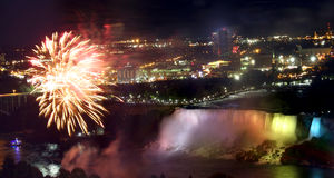 Niagara Falls. View of American Niagara falls at night royalty free stock images