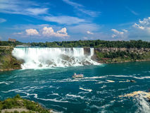 Niagara falls, view from Canada with a beautiful blue sky Stock Image