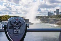 Niagara Falls. View finder at viewing patform at Niagara Falls, US side stock image