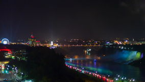 Niagara Falls view from hotel at night stock footage