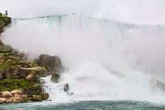 Niagara Falls 2. Niagara Falls is where Lake Eerie spills into Lake Ontario at a rate of 150,000 U.S. Gallons 567,811 Liters per second Stock Photography