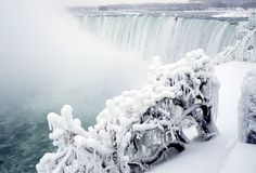 Niagara Falls in Winter. Snow scene of Niagara Fall Royalty Free Stock Image