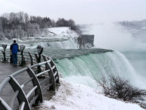 Niagara Falls in winter. View of the American side from the observation deck, showing the edge of the American Falls stock image