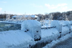 Niagara Falls, in the winter. Niagara Falls - 27 February 2015, before we get to the falls, all the rails are frozen Royalty Free Stock Image