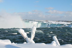 Niagara Falls, in the winter. Niagara Falls - 27 February 2015, on a sunny day, with frozen vegetation Royalty Free Stock Photo