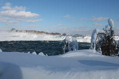 Niagara Falls, in the winter. Niagara Falls - 27 February 2015, on a sunny day, partially frozen Royalty Free Stock Images