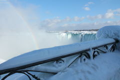 Niagara Falls in the winter. 27 February 2015, on a sunny day, with a rainbow, Ontario, Canada Royalty Free Stock Image