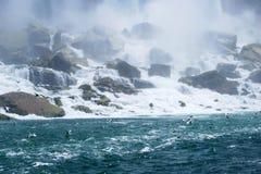 Niagara- Fallsnebel in New York, USA stockbild