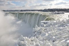 Niagara frozen falls. Pictura taken in the Niagara falls during the 2017 - 2018 winter in Canada you can see the snow covering the vegetation around the catarac stock photography