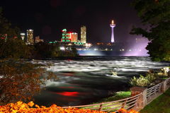 Niagara Raging and Skyline Royalty Free Stock Images