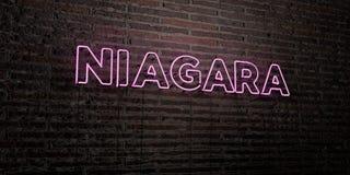 NIAGARA - realistische Leuchtreklame auf Backsteinmauerhintergrund - 3D übertrug freies Archivbild der Abgabe stock abbildung