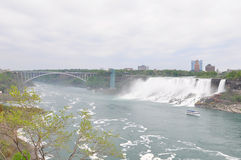The Niagara River, american falls and rainbow bridge Royalty Free Stock Images