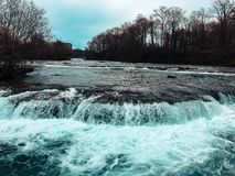 Niagara river approaching the falls. Sourcing from the Snowy mountains, the water gushes down the niagara making its way to the walls royalty free stock photography