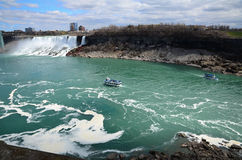 The Niagara River and boat Royalty Free Stock Photography