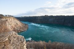 Niagara river. Cliff with blue water and rapids from above Royalty Free Stock Images