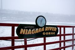 Niagara river gorge sign in winter royalty free stock images