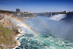 Niagara River Landscape with Rainbow Royalty Free Stock Photo